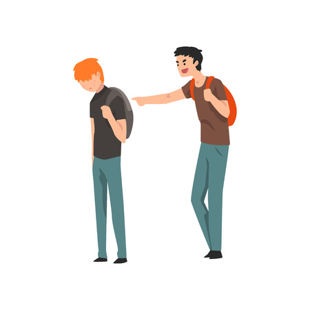 Teen male student laughing and pointing at boy, conflict between children, mockery and bullying  at school vector Illustration on a white background Ilustracja