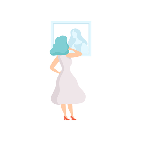 Woman in white dress looking at the painting hanging on the wall, female exhibition visitor viewing museum exhibit at art gallery, back view vector Illustration Illustration