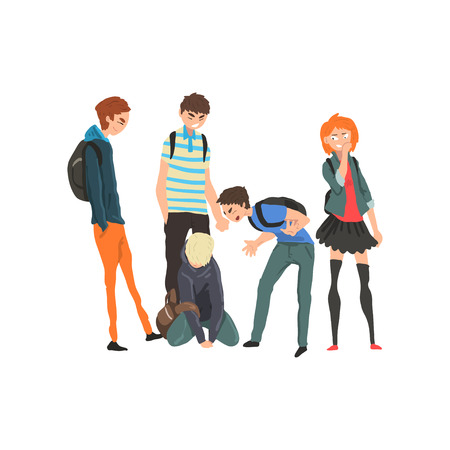 Sad teen boy sitting on floor surrounded by classmates mocking him, conflict between children, mockery and bullying  at school vector Illustration on a white background
