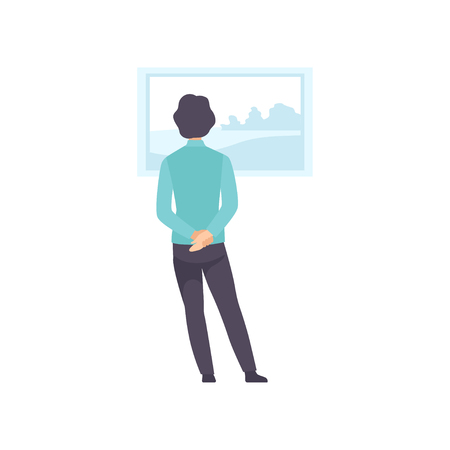 Man looking at the painting hanging on the wall, exhibition visitor viewing museum exhibit at art gallery, back view vector Illustration on a white background
