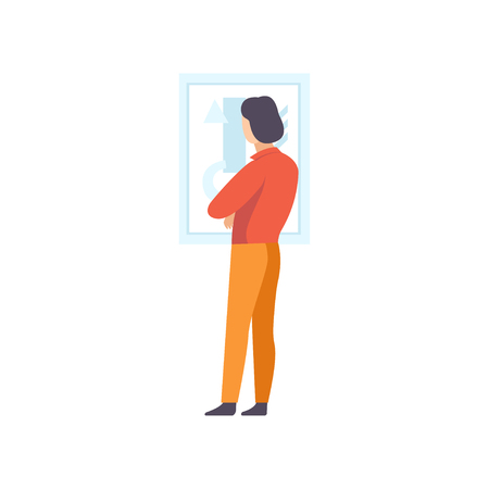 Brunette man looking at the painting hanging on the wall, male exhibition visitor viewing museum exhibit at art gallery, back view vector Illustration