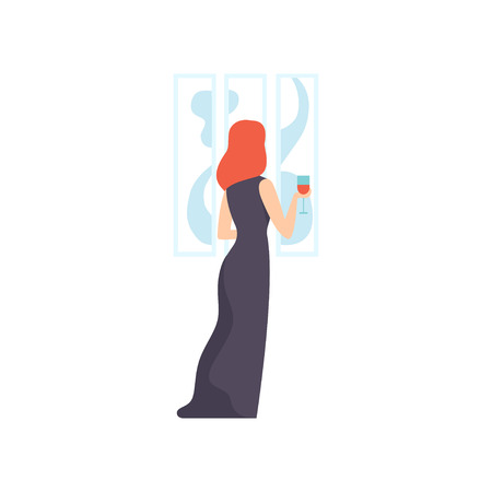 Woman in black dress looking at the painting hanging on the wall, female exhibition visitor viewing museum exhibit at art gallery, back view vector Illustration on a white background