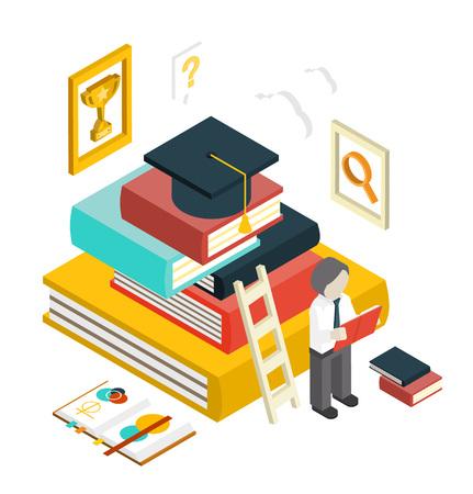Flat 3d web isometric education graduation infographic concept vector. Gain knowledge result, university, college classes. Vectores