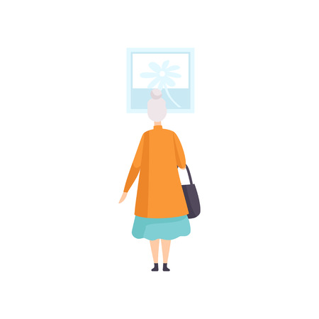 Elderly woman looking at the painting hanging on the wall, exhibition visitor viewing museum exhibit at art gallery, back view vector Illustration