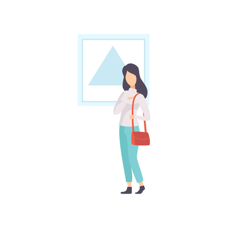 Female exhibition visitor viewing modern abstract painting at art gallery vector Illustration on a white background Illustration