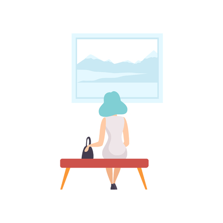 Young woman sitting on the bench and looking at the painting hanging on the wall, exhibition visitor viewing museum exhibit at art gallery, back view vector Illustration