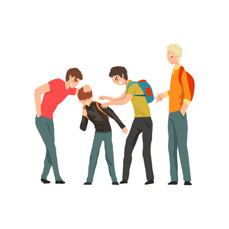 Group of young people mocking a boy, conflict between children, mockery and bullying  at school vector Illustration on a white background Foto de archivo - 111097112
