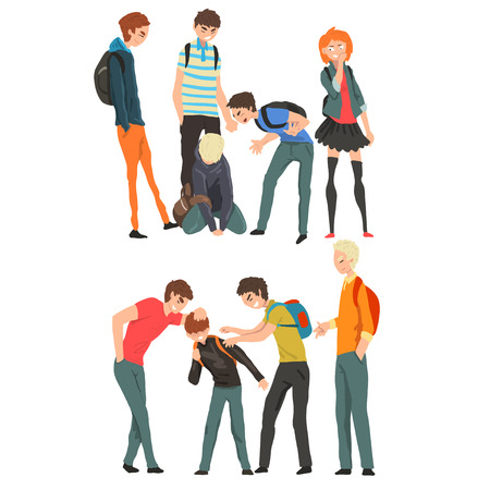 Conflict between teenagers, mockery and bullying at school vector Illustration isolated on a white background. Иллюстрация