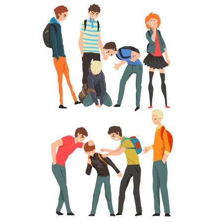 Conflitto tra adolescenti, derisione e bullismo a scuola vettoriale illustrazione isolato su sfondo bianco.