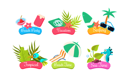 Summer travel template set, beach party, vacation, surfing, tropical, beach time, sea time bright labels vector Illustration on a white background