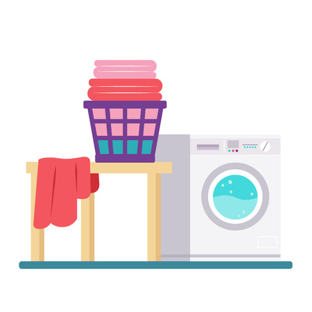Buanderie avec lave-linge et sèche-linge. Style plat Design moderne et tendance. Illustration vectorielle. Vecteurs
