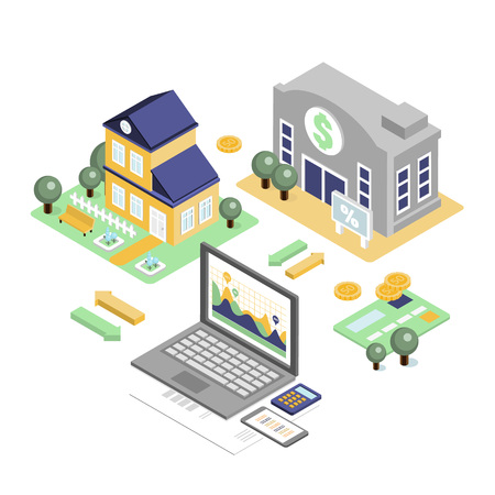 Bank credit and home loan concept with isometric house and financial icons vector illustration Illustration