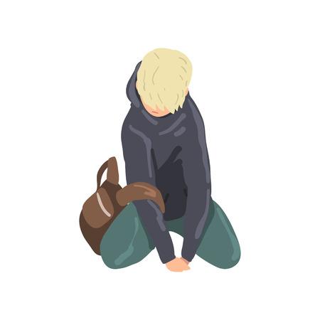 Muchacho adolescente triste sentado en el suelo, vector de adolescente solitario deprimido ilustración aislada sobre fondo blanco.