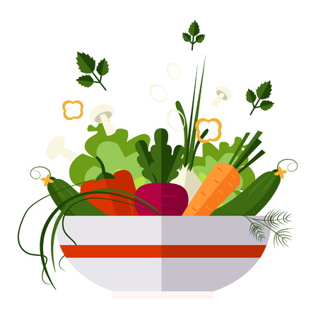 Vegetable salad, healthy food, diet flat style vector