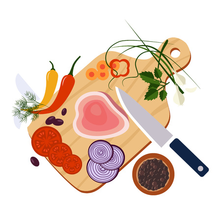 Food preparation Knife, meat, onions and spices Vector flat illustrations
