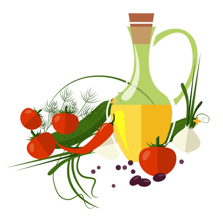 Carafe with olive oil isolated on background vector illustration Illustration