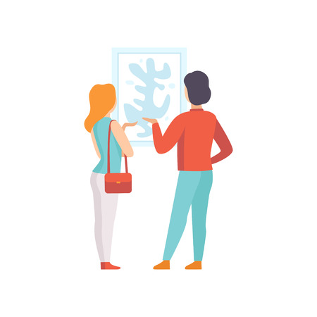 Man and woman looking at the painting hanging on the wall, exhibition visitor viewing museum exhibit at art gallery, back view vector Illustration on a white background Illustration