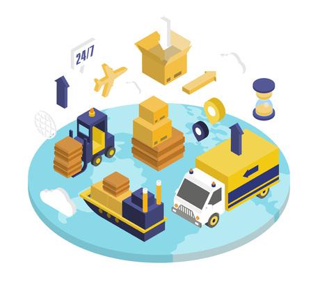 L'insieme isometrico di logistica con le icone di consegna 3d di custodia di trasporto ha isolato l'illustrazione di vettore Vettoriali