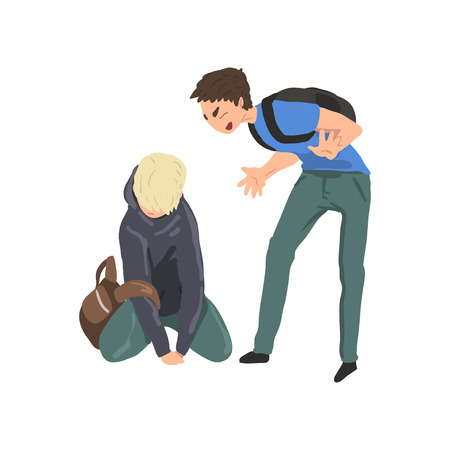 Sad teen boy sitting on floor another boy mocking him, conflict between children, mockery and bullying  at school vector Illustration on a white background