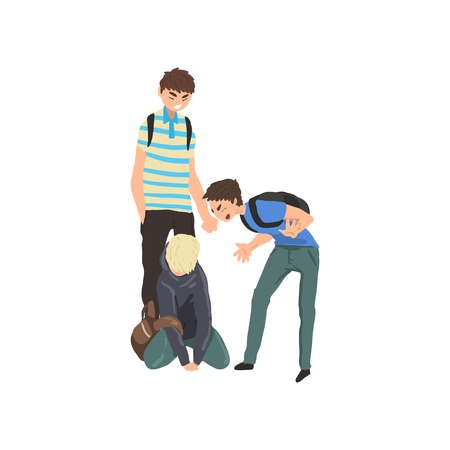 Trauriger Teenager, der auf dem Boden sitzt, Klassenkameraden, die ihn verspotten, Konflikt zwischen Kindern, Spott und Mobbing in der Schule Vektor-Illustration auf weißem Hintergrund