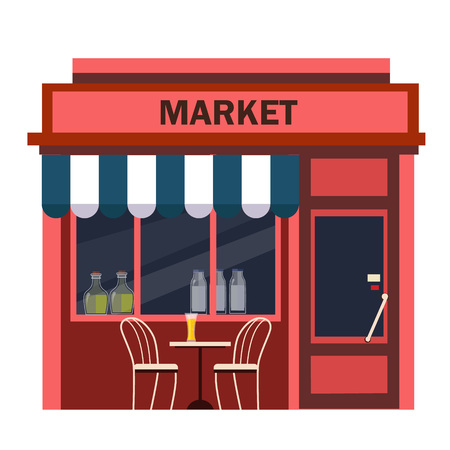 Restaurants and shops facade, storefront vector detailed flat Stock Illustratie