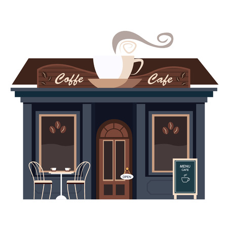 Restaurants and shops facade, storefront vector detailed flat Ilustração