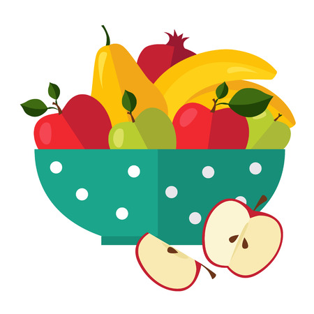 Salad from fruit and berries vector illustration 일러스트