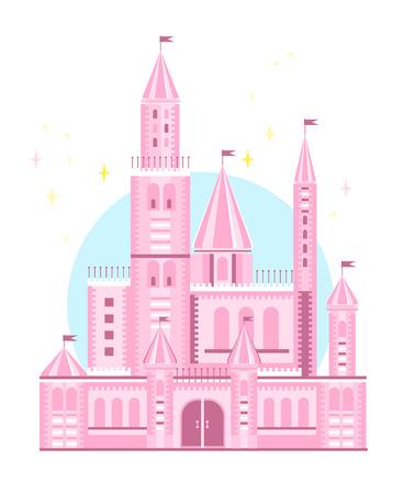 Wektor ładny różowy zamek Ilustracje wektorowe