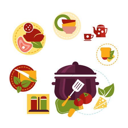Healthy fresh food flat concept depicting cooking process with ingredients and kitchen utensil. Flat vector Archivio Fotografico - 128163128