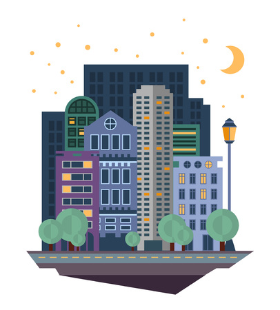 Urban landscape in flat design vector illustration in modern style for different use