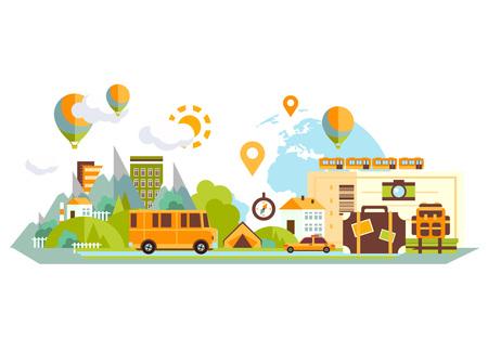 Conjunto de diseño plano de vacaciones de viaje. Ilustración del concepto de vector. Bandera de viaje. Ilustración de vector