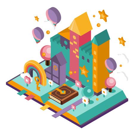 Open Book with set of vector fairy tale elements, icons and illustrations Standard-Bild - 111097241