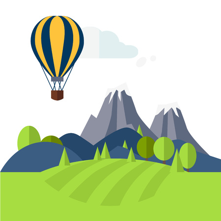 Flat Design Nature Landscape Illustration with Sun, Hills, Mountains and Clouds 일러스트