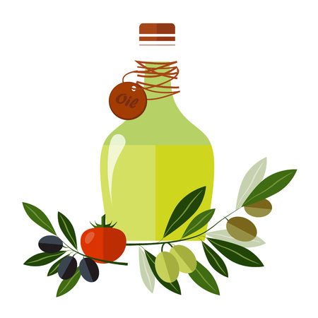 Carafe with olive oil isolated on background vector illustration Çizim