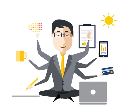 Businessman with multitasking and multi skill. Keep calm. Business concept. Flat design Ilustração