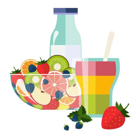 Healthy Breakfast Breakfast concepts French Breakfast and Nutritious Breakfast vector illustration Archivio Fotografico - 128163143