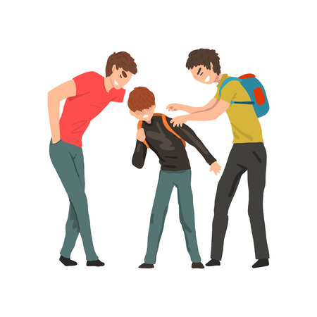 Two older boys mocking younger, conflict between children, mockery and bullying at school vector Illustration isolated on a white background. Ilustracja