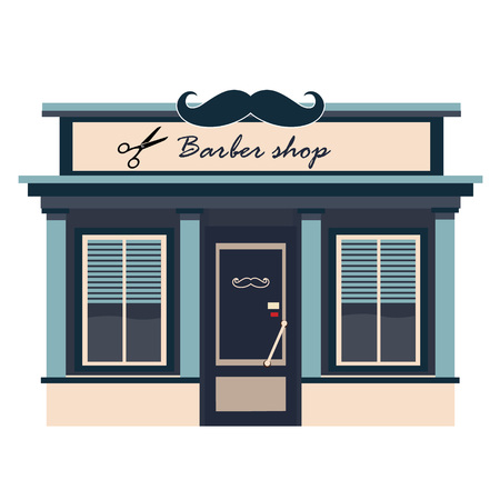 Restaurants and shops facade, storefront vector detailed flat Illustration