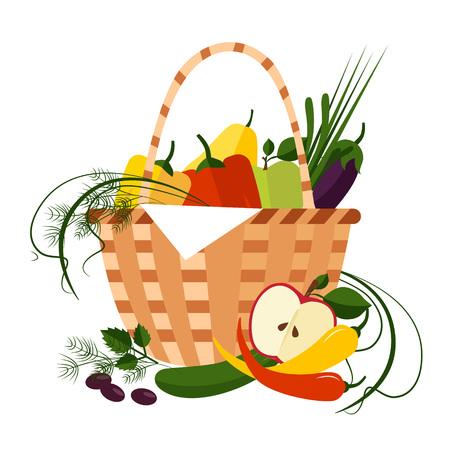 Basket Full of Fresh Fruit Illustration