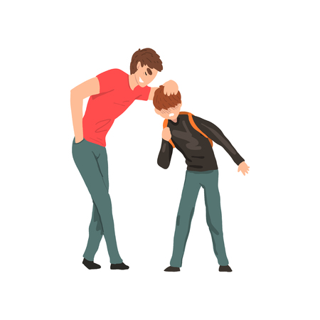 Older boy mocking younger, conflict between children, mockery and bullying at school vector Illustration on a white background
