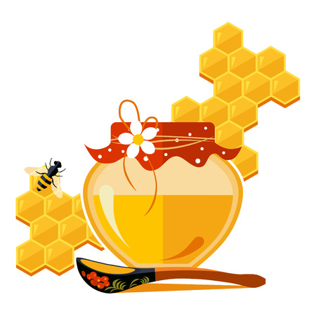 Jar with honey vector isolated illustration modern style Illustration