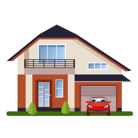Colorful Flat style Residential Houses vector illustration Foto de archivo - 111082801