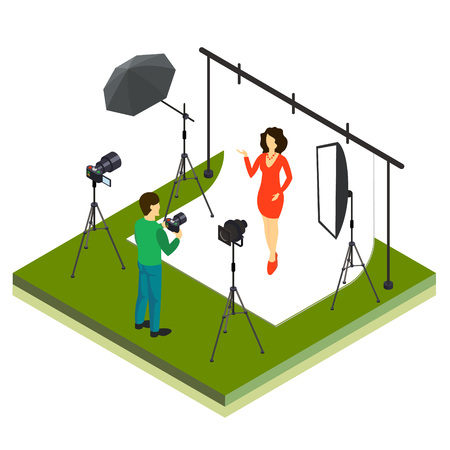 Photographer shooting model in studio flat isometric 3d style vector illustration.