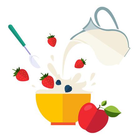 Healthy Breakfast Breakfast concepts French Breakfast and Nutritious Breakfast vector illustration Archivio Fotografico - 128163159