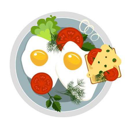 Healthy Breakfast concepts French Breakfast and Nutritious Breakfast vector illustration Stock Vector - 128163161