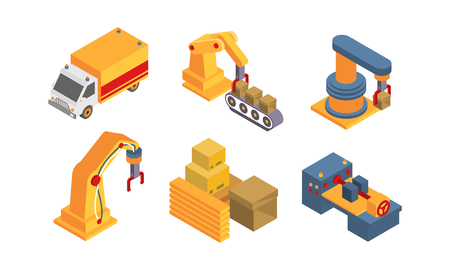 Warehouse objects and equipment set, intelligent manufacturing, robotic arm, automated conveyor vector Illustration isolated on a white background. Banque d'images - 111092540