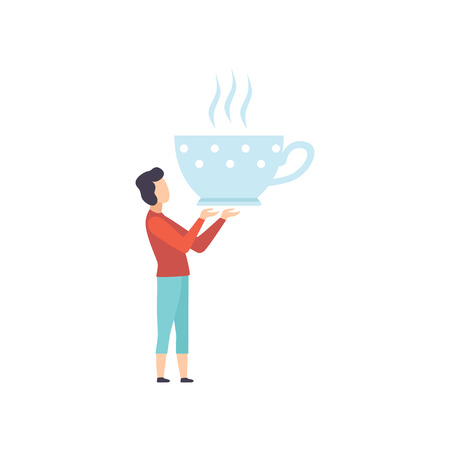 Young man standing with a giant cup of tea, faceless man in casual clothes holding kitchen tool vector Illustration on a white background