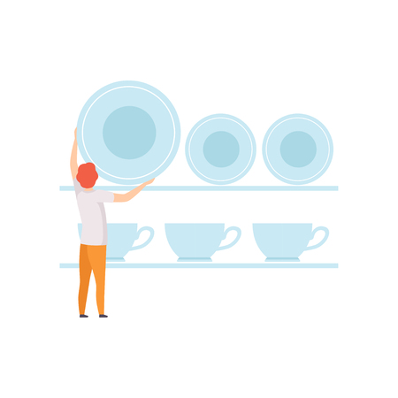 Young man putting the plates on the shelf, faceless man in casual clothes with kitchenware vector Illustration on a white background