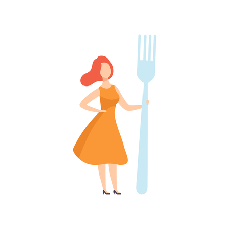 Young woman standing with a giant fork, faceless girl in casual clothes holding kitchen tool vector Illustration on a white background