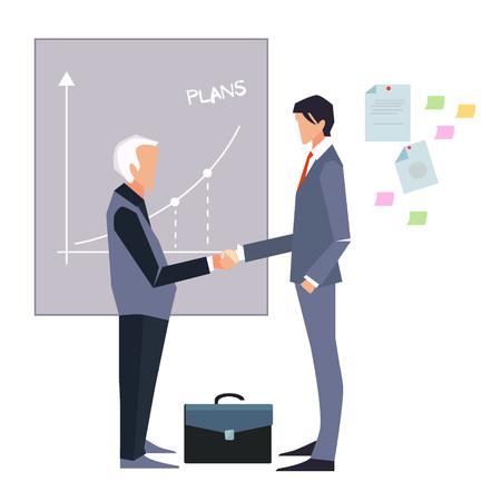 Partnership. Illustration of two cartoon businessmen handshaking vector